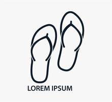 Flip-flops Icon Vector Logo Design Template