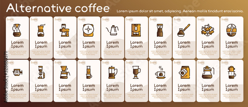 Photo Third wave alternative coffee color icon set. Editable stroke.