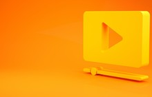 Yellow Online Play Video Icon Isolated On Orange Background. Film Strip With Play Sign. Minimalism Concept. 3d Illustration 3D Render