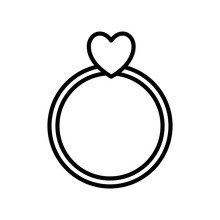 Heart With Ring Line Style Icon Vector Design