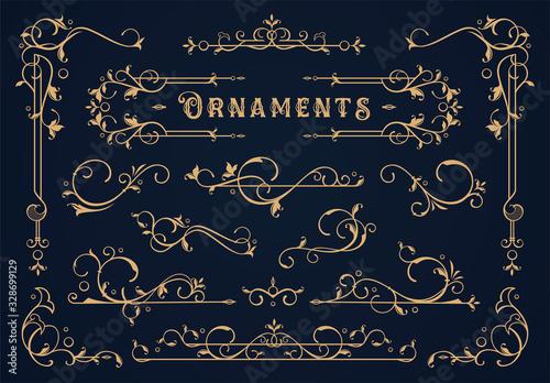Obraz Set of Vintage border element - fototapety do salonu