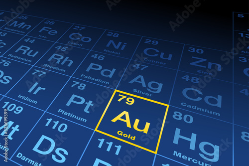 Photo Element gold on the periodic table of elements