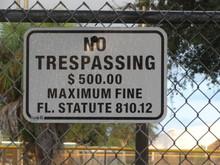 Closeup Of No Trespassing Warn...
