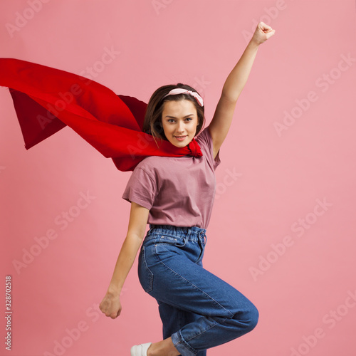 Superpowers, a supergirl in a red Cape is flying to the rescue. Tableau sur Toile