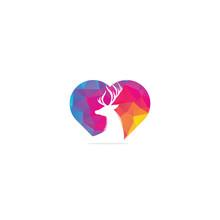 Deer Head Heart Shape Concept Logo Design Template.