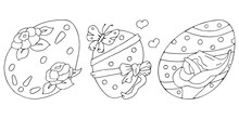 Set Of Beautiful Easter Painted Eggs. Flowers Roses, Calla Lilies, Bow, Butterfly. Happy Easter. Coloring Page. Vector Hand Drawn Illustrations Set. Black And White Isolated On White Background.