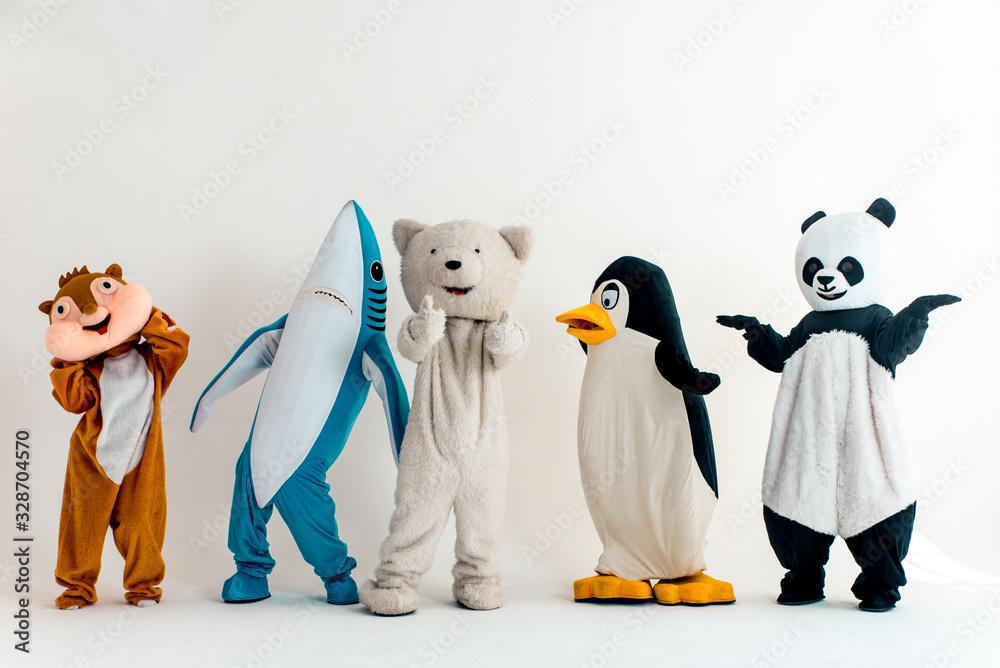 Fototapeta Group of animals mascots doing party