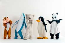 Group Of Animals Mascots Doing...