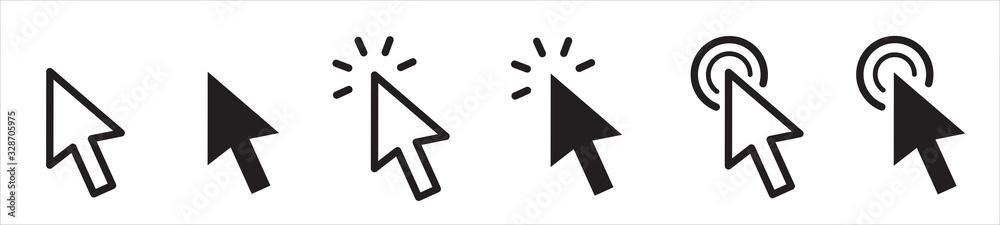 Fototapeta Pointer cursor сomputer mouse icon. Clicking cursor, pointing hand clicks icons. Click cursor - stock vector.