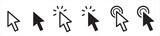 Pointer cursor сomputer mouse icon. Clicking cursor, pointing hand clicks icons. Click cursor - stock vector.