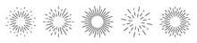 Sunburst Set Isolated On White Background. Sunburst Black Color. Flat Style - Stock Vector.