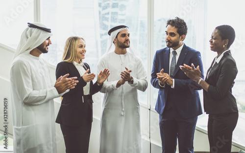 Mixed business team in Dubai Canvas Print