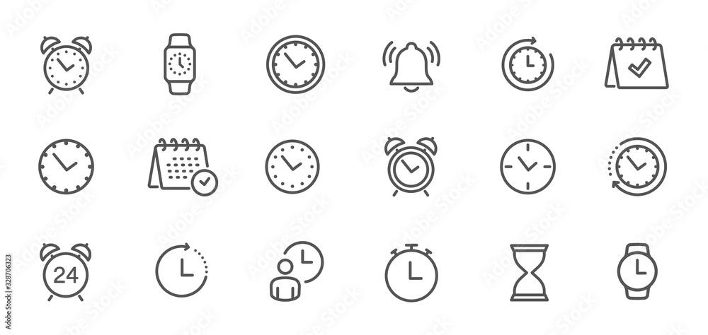 Fototapeta Time and clock, calendar, timer line icons. Vector linear icon set - stock vector.
