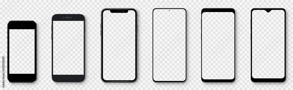 Fototapeta Realistic models smartphone with transparent screens. Smartphone mockup collection. Device front view. 3D mobile phone with shadow on transparent background - stock vector.