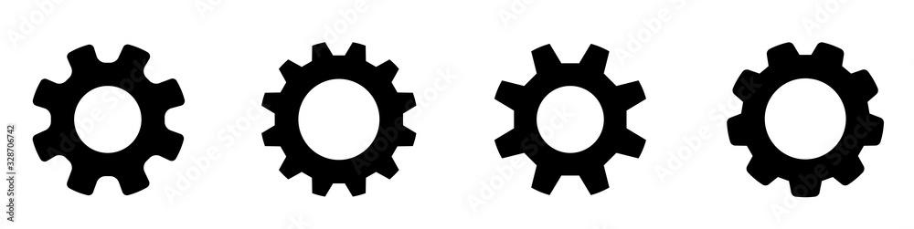 Fototapeta Gear set. Black gear wheel icons on white background - stock vector.
