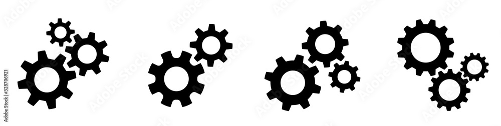 Fototapeta Setting gears icon. Cogwheel group. Gear design collection on white background - stock vector.
