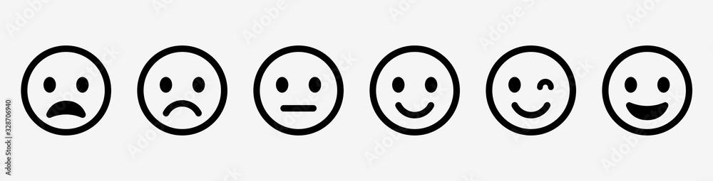 Fototapeta Emoticons set. Emoji faces collection. Emojis flat style. Happy and sad emoji. Line smiley face - stock vector.