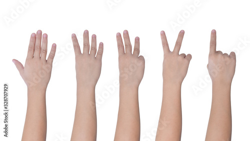 Children hand showing one to five fingers count Isolated on white background, with clipping path.