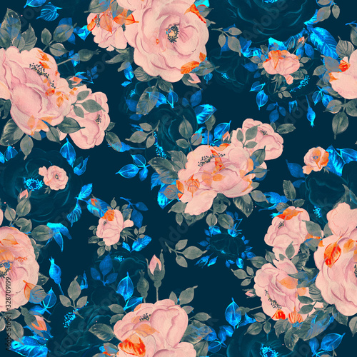 Fototapety, obrazy: Watercolor hand-drawn seamless pattern of beautiful delicate roses with foliage