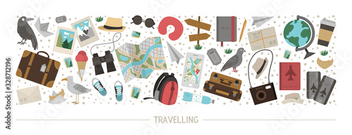 Fototapeta Vector horizontal layout set with travelling objects. Journey elements banner design. Cute funny card template with travel or vacation elements.. obraz