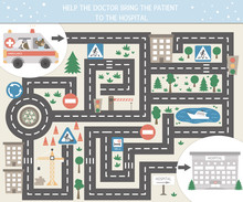 Medical Maze For Children. Preschool Medicine Activity. Funny Puzzle Game With Cute Emergency Car And Clinic. Help The Ambulance Get To The Hospital..