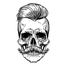 Barberman Skull With Mustache....