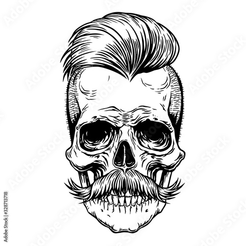 Photo Barberman skull with mustache