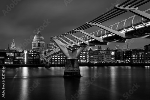 St Paul's Cathedral along the length of Millennium Bridge, Black and White Canvas Print