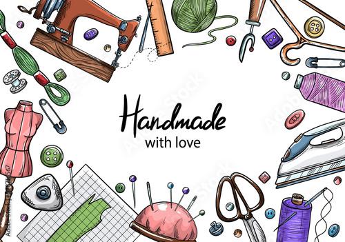 Fotografia, Obraz Tailor or dressmaker work and fashion designer atelier sketch items