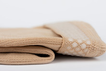 Close Up Of Flat Knit Graduated Compression Garments For Leg Lymphedema, Edema And Lipedema - Powerful Compression Stocking For Greater Edema Containment