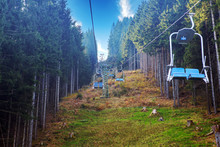 Blue Chair Lifts Going Up The ...