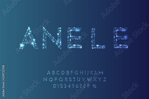 Obraz Vector illustration. Random dots size. Contemporary letters. Digital font. Futuristic techno style. Low poly concept. Numbers for advertisement, sale banner design. Thin lines. Network design - fototapety do salonu