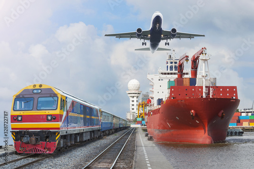 Fotografie, Tablou container trains commercial cargo Aircraft import export working crane ship on port use for logistic and transportation delivery
