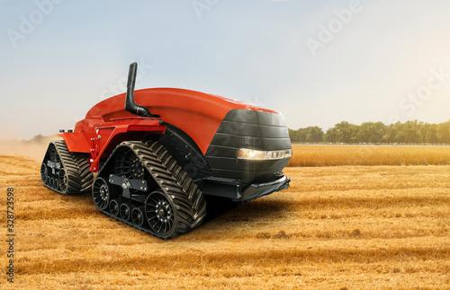 Aufkleber - Autonomous tractor working on the field. Smart farming