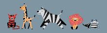 Cute Cartoon African Animals S...