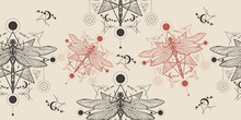 Esoteric Dragonfly Seamless Pattern. Packing Old Paper, Scrapbooking Style. Vintage Background. Medieval Manuscript, Engraving Art. Alchemy, Religion, Occultism, Spirituality Concept