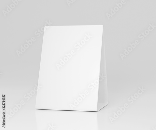 Fototapeta Promotional table talker isolated on white background, mockup template paper tri-fold vertical triangle cards with reflections. white sheets front & left and right view. 3d render obraz