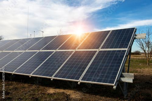 Valokuvatapetti Solar panel, photovoltaic, alternative electricity source - concept of sustainab