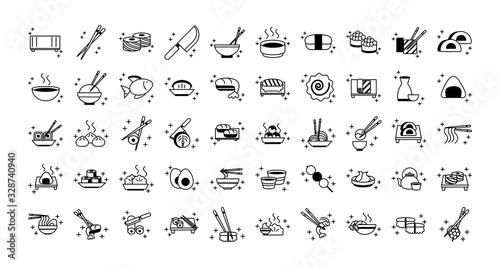 Fototapeta sushi oriental menu icons set line style icon obraz