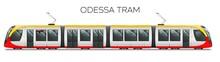 Odessa Passenger Tram Train, Streetcar. Modern Urban Tramcar, City Electric Transport Streetcar Isolated On White.