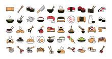Sushi Oriental Menu Icons Set ...