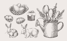 Big Hand-drawn Easter Set Of H...
