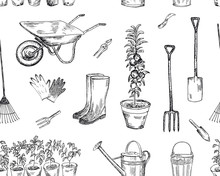 Gardening Seamless Pattern. Vector Sketches Hand Drawn