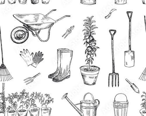 Fotografie, Tablou Gardening seamless pattern. Vector sketches hand drawn