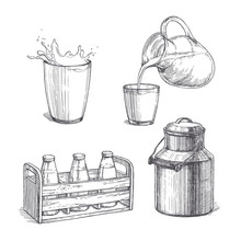 Vector Vintage Set Of Milk Illustrations In Engraving Style. Hand Drawn Sketches Of Glass With Splash, Bottles In Wooden Crate, Fresh Product Pouring From Jar In Cup And Metallic Can Isolated On White