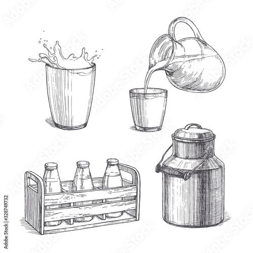 Valokuvatapetti Vector vintage set of milk illustrations in engraving style