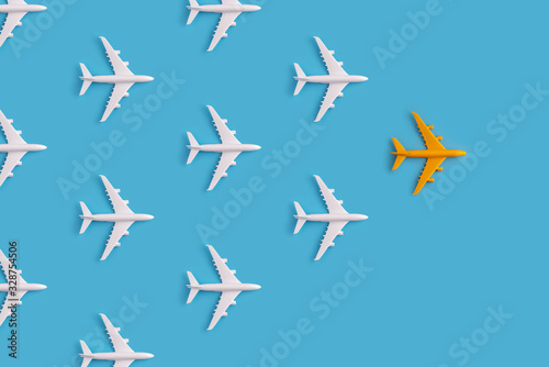 Obraz na plátně Leadership concept from colorful airplane with creativity