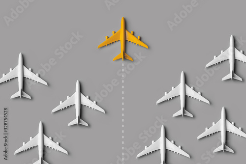 Fototapeta Leadership concept from colorful airplane with creativity