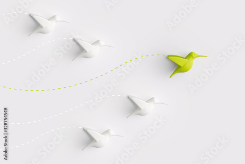 Fotografie, Obraz Leadership concept from colorful airplane with creativity