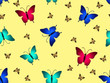 butterflies in a repeating pattern on a beige background